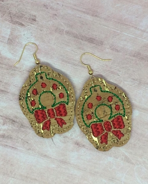 Wreath Earrings Embroidery Design (1.5 inches)