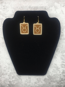 Taurus Zodiac Earrings Embroidery Design