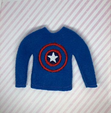 Captain American Elf Sweater Embroidery Design