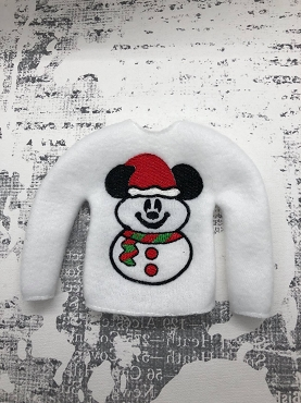 Mr Mouse Snowman Elf Sweater Embroidery Design