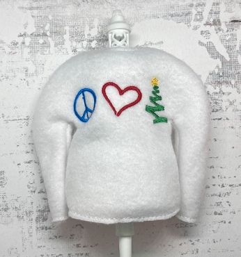 Peace, Love, Christmas Elf Sweater Embroidery Design