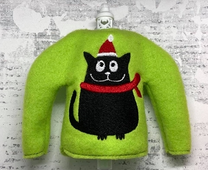 Christmas Cat Elf Sweater Embroidery Design