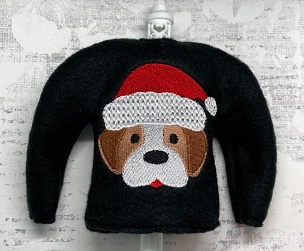 Santa Dog Elf Sweater Embroidery Design