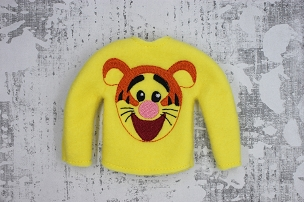 Bouncy Tiger Face Elf Sweater Embroidery Design