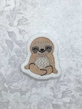 Sitting Sloth Feltie Embroidery Design