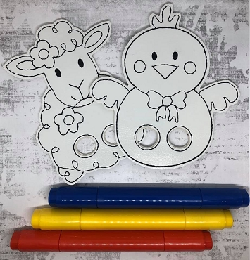 Chick and Lamb Coloring Finger Puppets Embroidery Design