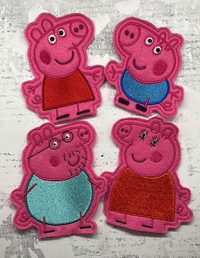 Peppa Pig and Family Finger Puppets Embroidery Design