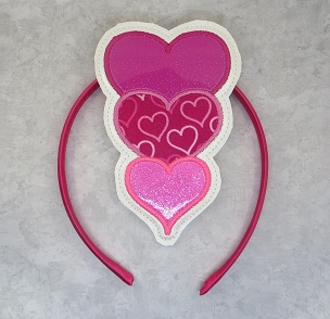 Three Applique Satin Hearts Headband Embroidery Design
