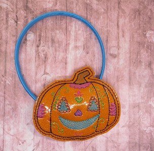 Pumpkin Sugar Skull Headband Slider Embroidery Design