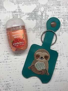 Smiling Sloth Hand Sanitizer Holder Embroidery Design