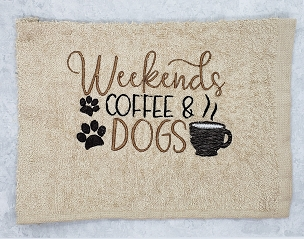 Weekend, Coffee & Dogs In the Hoop Embroidery Design (5x7)