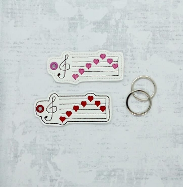 Music Note Love Keyfob Embroidery Design