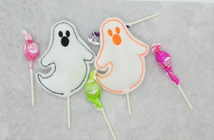 Ghost Lollipop Holder Embroidery Design