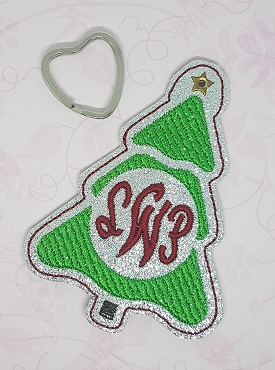 Monogrammed Christmas Tree Ornament Embroidery Design