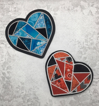 Stained Glass Heart Mug Rug Embroidery Design (vinyl)