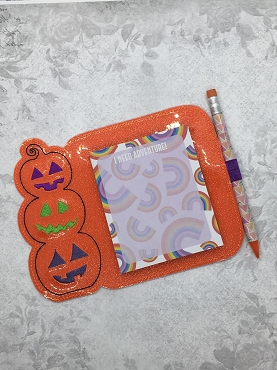Stacked Pumpkins Note Pad Holder Embroidery Design