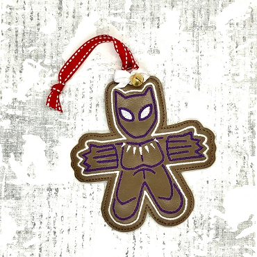 Black Panther Gingerbread Ornament Embroidery Design
