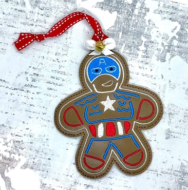 Captain American Gingerbread Ornament Embroidery Design