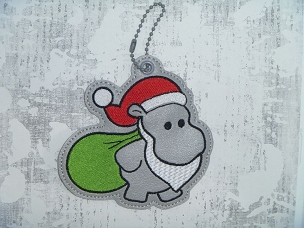 Christmas Hippo Ornament 2 Embroidery Design