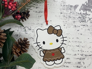 White Kitty Gingerbread Ornament Embroidery Design