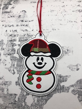 Mr Mouse Snowman Ornament Embroidery Design
