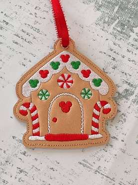 Mouse Gingerbread House Ornament Embroidery Design