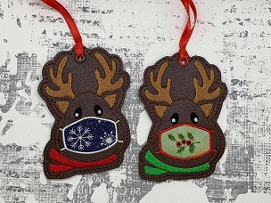 Reindeer with Mask Ornament Embroidery Design