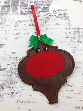 Rudolph Face Fancy Ornament Embroidery Design