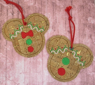 Mickey and Minnie Gingerbread Ornament Embroidery Design
