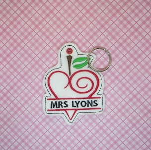 Teacher Love Monogrammed Ornament Embroidery Design