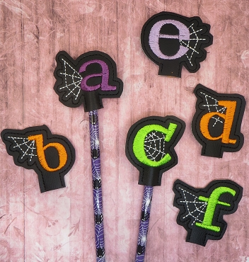 Letters A-Z With Web Pencil Topper Embroidery Design