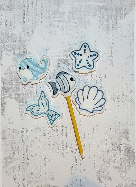 Ocean Set Pencil Topper Embroidery Design