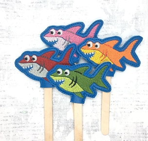 Shark Pencil Topper OVERSIZED Embroidery Design
