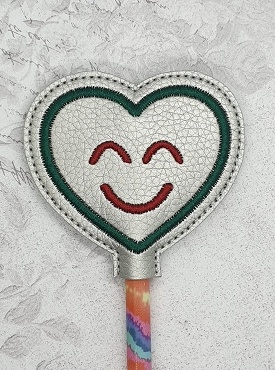 Smiling Heart Pencil Topper Embroidery Design
