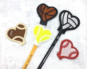 Sports Love Pencil Toppers (set of 5) Embroidery Design