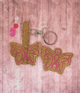 Butterfly Awareness Ribbon Snaptab / Keyfob Embroidery Design