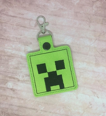 Creeper MC Snaptab / Keyfob Embroidery Design
