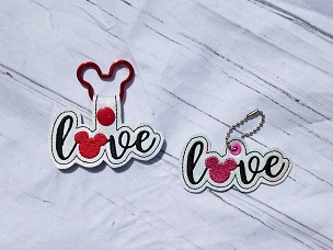 Mickey Love Word Snaptab / Keyfob Embroidery Design