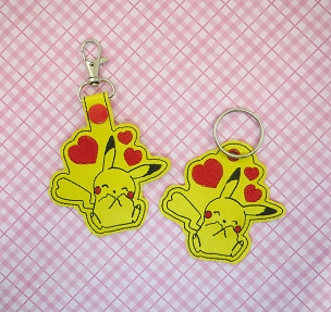 Pikachu Love Snaptab / Keyfob Embroidery Design