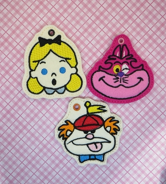 Wonderland Trio - includes Cat, Alice & Tweedle Dee Snaptab / Keyfob Embroidery Design