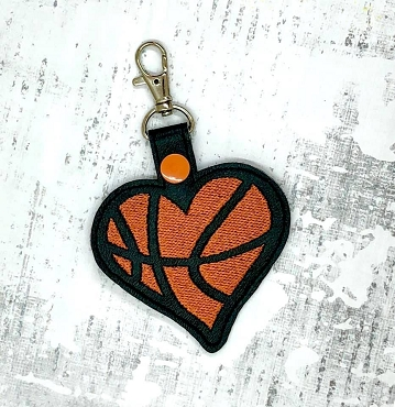 Basketball Love Snaptab / Keyfob Embroidery Design