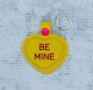 Be Mine Heart Snaptab / Keyfob Embroidery Design