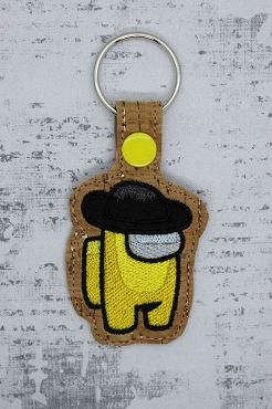 Black Hat Crewmate Snaptab / Keyfob Embroidery Design