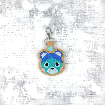 Blue Bear Animal Crossing Snaptab / Keyfob Embroidery Design