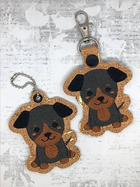 Doberman Puppy Snaptab / Keyfob Embroidery Design