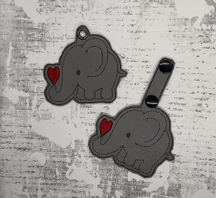 Elephant with Heart Snaptab / Keyfob Embroidery Design