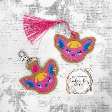 Fushia Animal Crossing Snaptab / Keyfob Embroidery Design