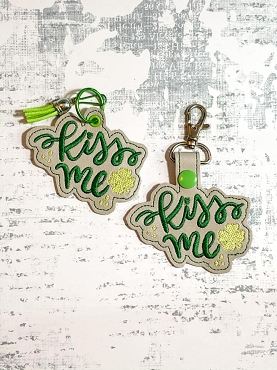 Kiss Me Snaptab / Keyfob Embroidery Design