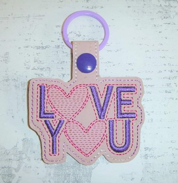 Love You Snaptab / Keyfob Embroidery Design