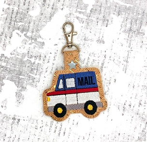 Mail Truck Snaptab / Keyfob Embroidery Design